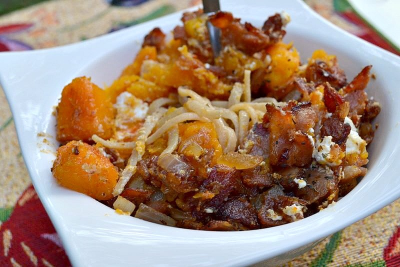 Bacon, Roast Squash & Goat Cheese Pasta | The Realistic Nutritionist