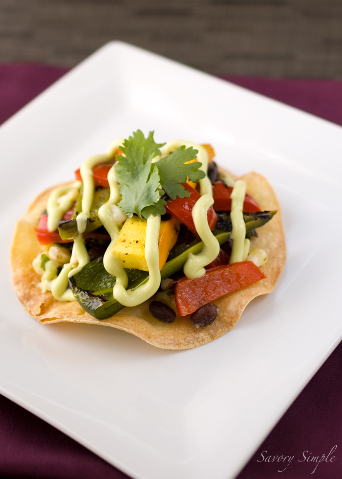 ... grilled vegetable and black bean tostada recipe with avocado cream