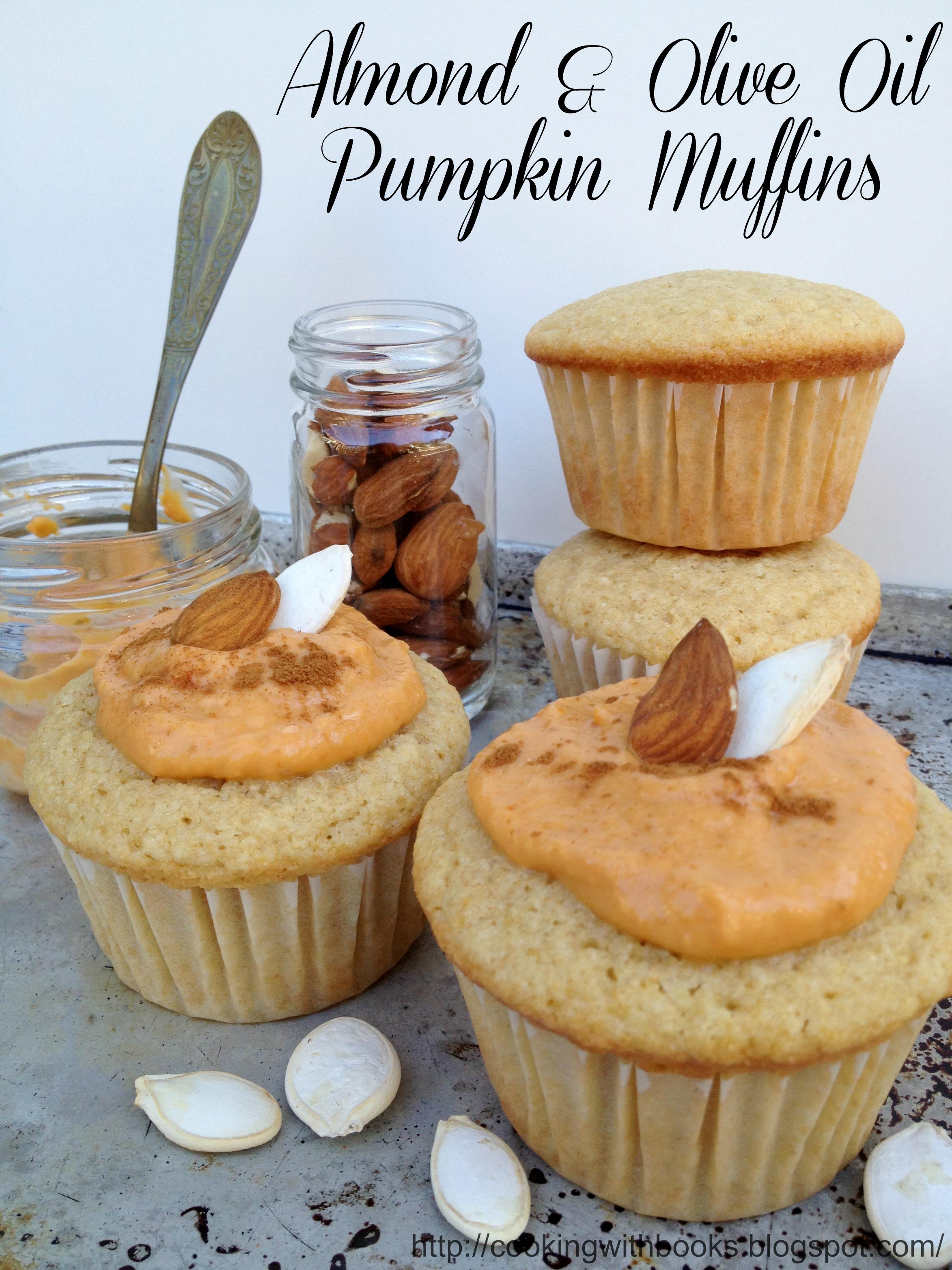 Almond & Olive Oil Muffins with a Greek Yogurt- Pumpkin Glaze