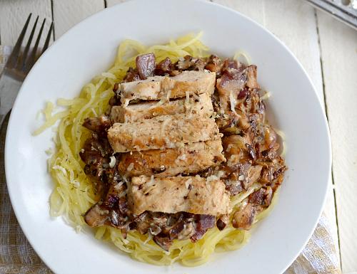 Chicken  Spaghetti Squash with a Light Creamy Mushroom Sauce