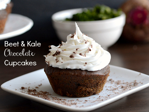 Beet and kale chocolate cupcakes