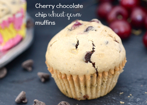 Cherry choc. wheat germ muffins