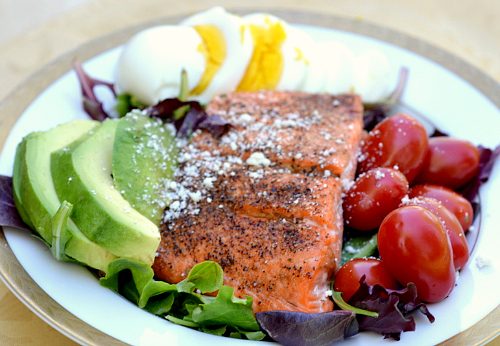 Low carb salmon cobb salad