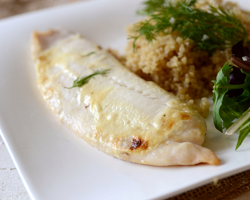 white fish with mustard sauce quinoa the realistic