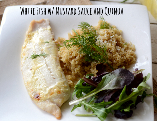 white fish with mustard sauce