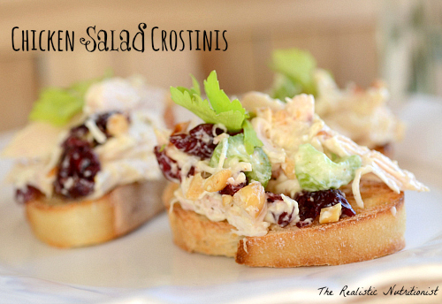 Chicken salad crostinis