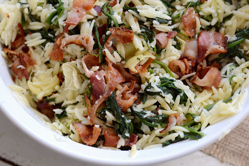 Spinach, bacon and orzo salad