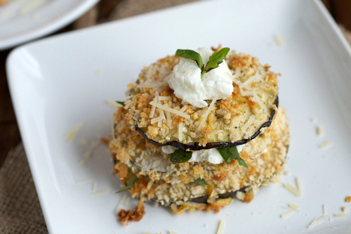 Light baked eggplant stacks