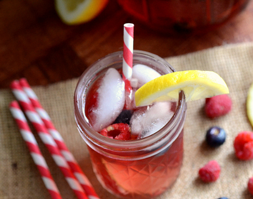 Mixed berry and rose sangria