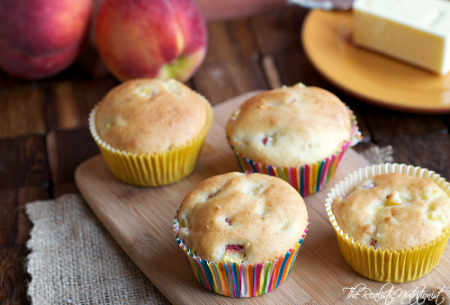 fluffy peach muffins