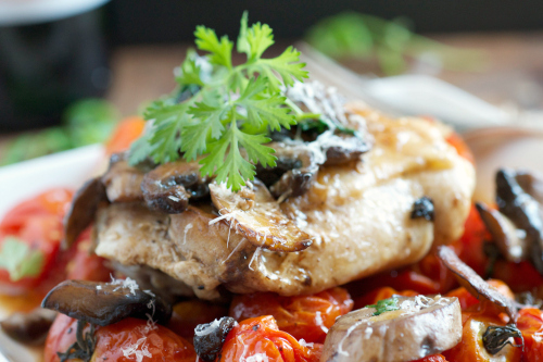 Balsamic roasted chicken with grape tomatoes