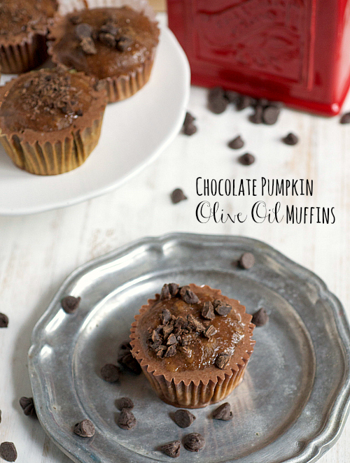 Chocolate pumpkin olive oil muffins