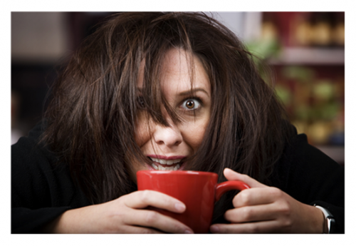 Coffee-Crazed-Woman-with-Red-Cup