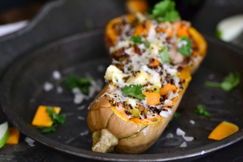 Stuffed squash with apples and bacon