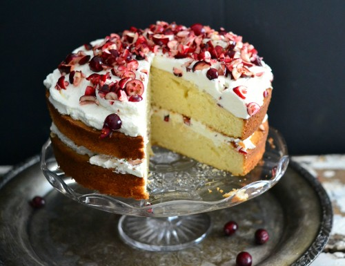 Easy fluffy white cranberry cake