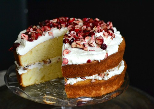 Fluffy white cranberry cake