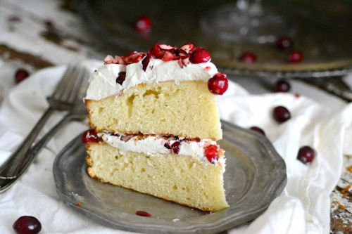 White cake with whipped cream