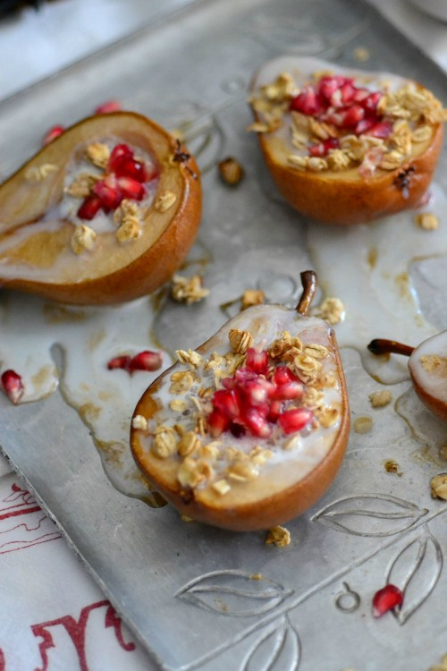 roasted pears with poms