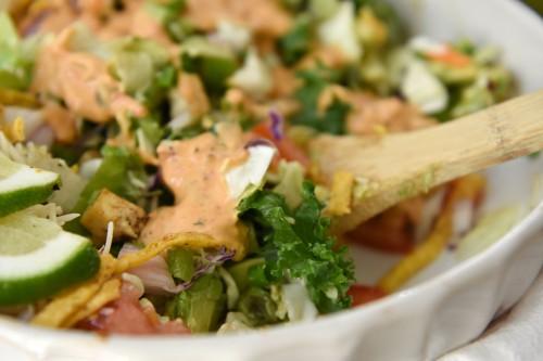 crispy tofu tortilla salad
