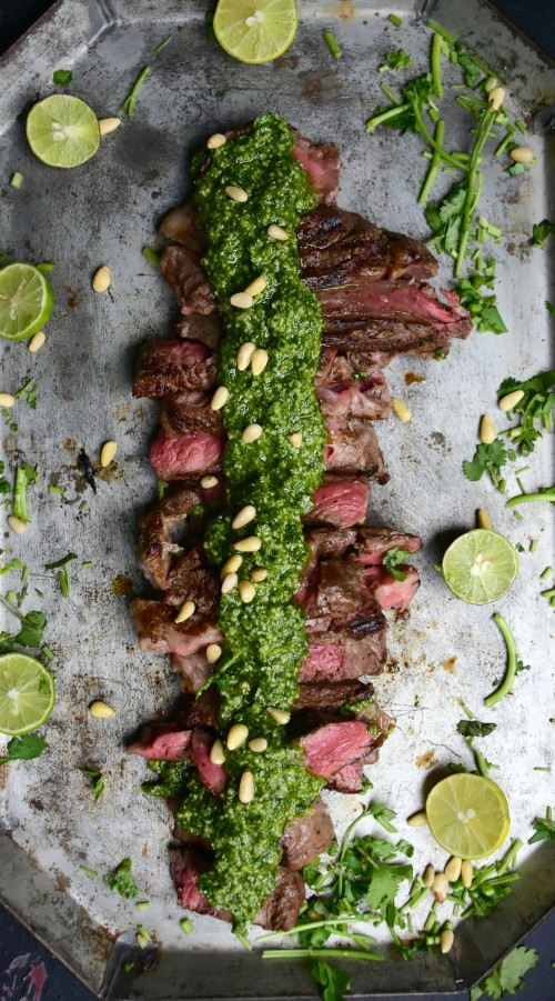 Easy steak with creamy pesto